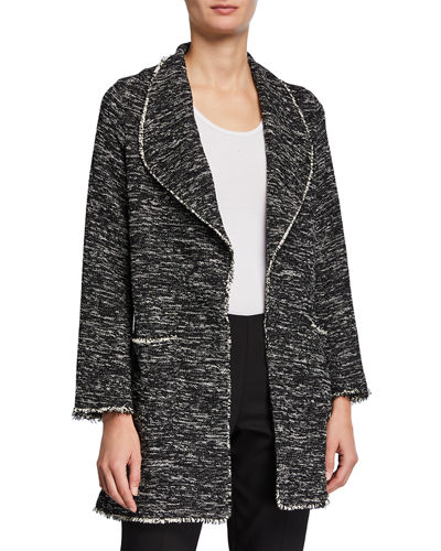 Tweed Frayed Open-Front Jacket