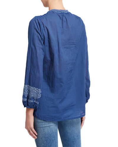 Chelsee Cotton V-Neck Long-Sleeve Blouse
