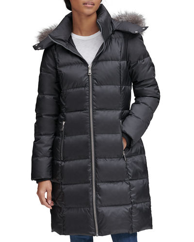 Renata Fox Fur Hood Slim Coat