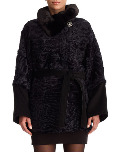 Gorski Karakul Lamb Fur Jacket with Mink Detail
