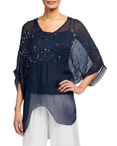 Sequin-Trim Oversize Tunic