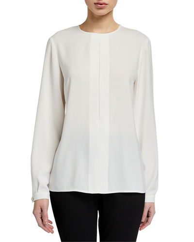 Inverted Pleat Long-Sleeve Blouse