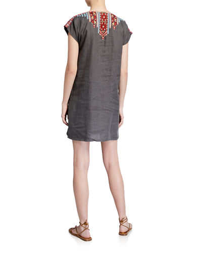 Ezra Embroidered Shift Tunic Dress