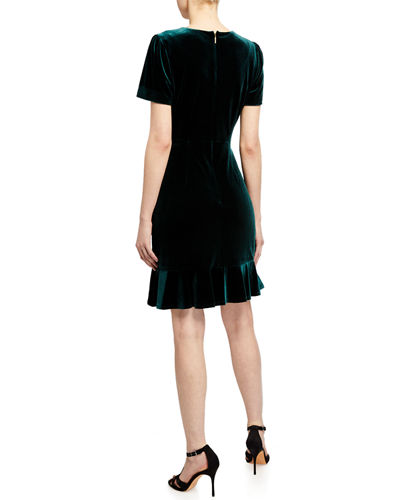 Velvet Ruffle Trim Dress