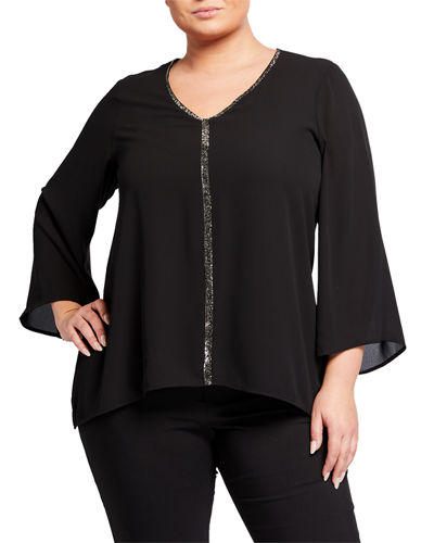 Plus Size Embellished V-Neck Blouse