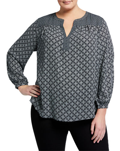 Plus Size Split-Neck Pattern Tunic