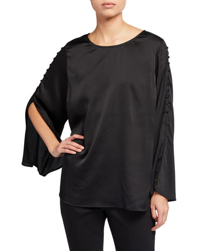 Plus Size Top with Buttoned Trim Sleeves