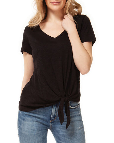 V-Neck Short-Sleeve Tie-Front Tee