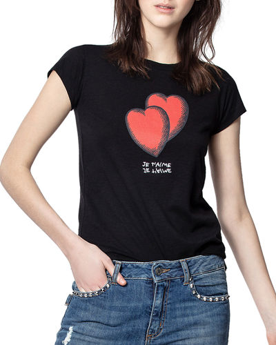 Skinny Heart Graphic Print Shirttail Tee