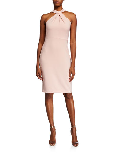 Stretch-Crepe Knot-Front Sheath Dress