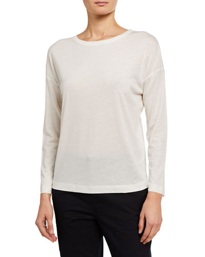 Long-Sleeve Linen-Blend Top