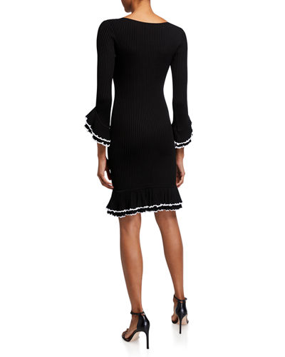 Ruffle-Sleeve Contrast Dress