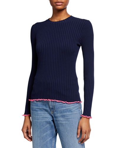 Contrast Edge Long-Sleeve Pullover