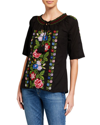 Embroidered Short Sleeve Tassel Tie Top
