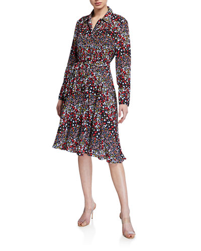 Printed Pintuck Button Down Dress