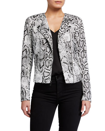 Asymmetric Zip Ponte Biker Jacket