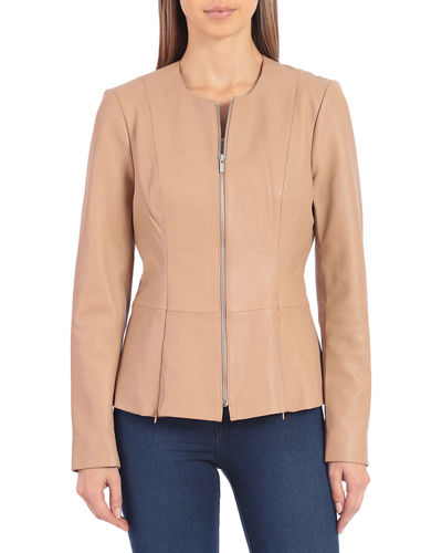 Collarless Lambskin Leather Peplum Jacket
