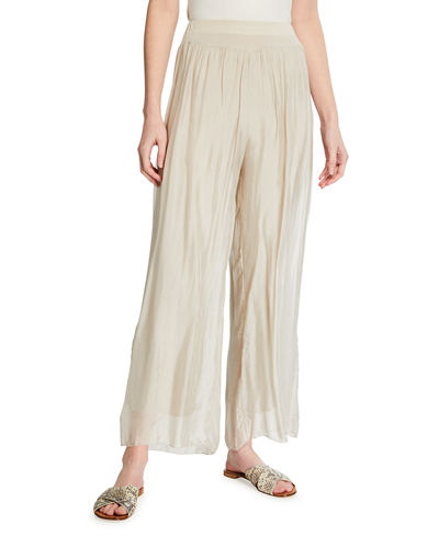 Sheer Overlay Straight Leg Soft Pants