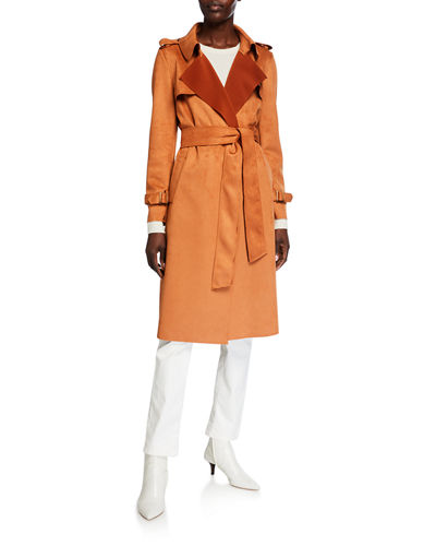 Faux-Suede Belted Trench Coat