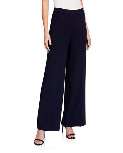 Full-Length Wide-Leg Crepe Pants