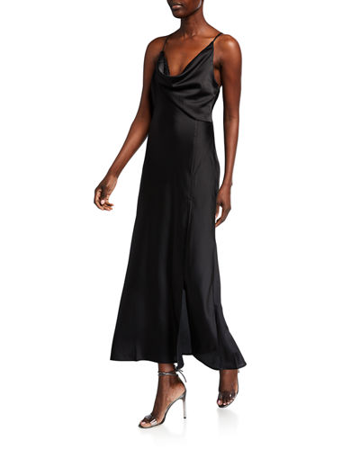 Jolie Cowl-Neck Slit Midi Dress