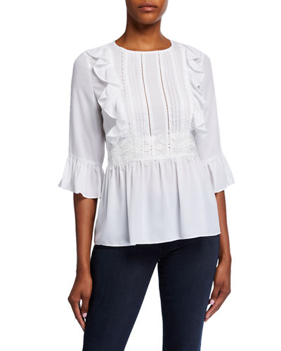 Lace Ruffle Trim Peplum Top
