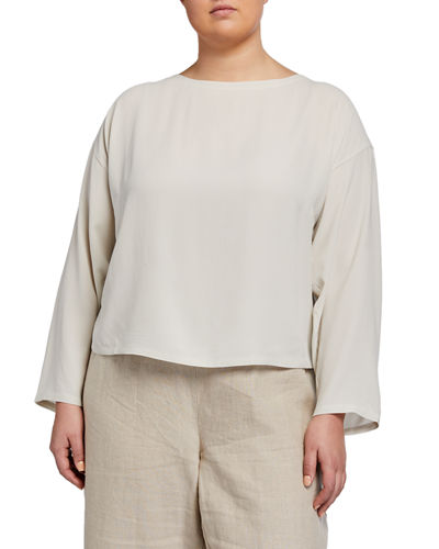 Plus Size Boat-Neck Bracelet-Sleeve Silk Crepe Crop Top