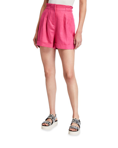 Paperbag Pleated Linen Shorts