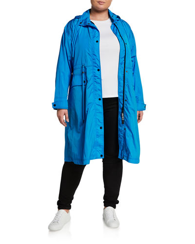 Plus Size Oversized Water-Resistant Hooded Anorak