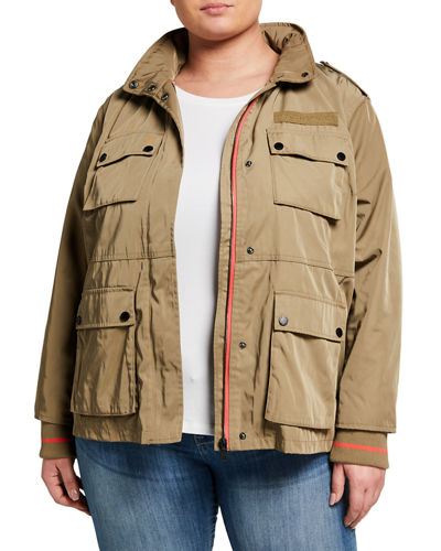 Plus Size Water-Resistant Cargo Jacket