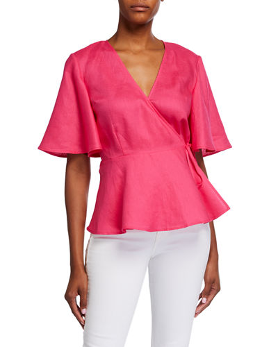 Linen Butterfly-Sleeve Peplum Wrap Top