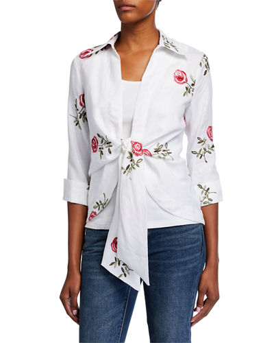 Tie-Front Embroidered Linen Jacket