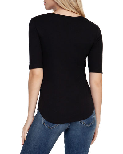 Short-Sleeve Round-Neck Ribbed Tee