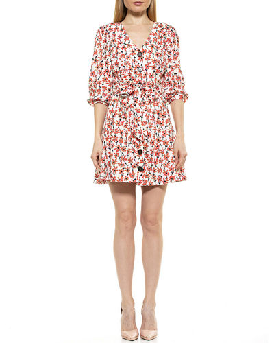 Printed Button Down Belted Linen Dress