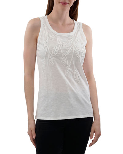 Knit Tank With Leaf Embroidery