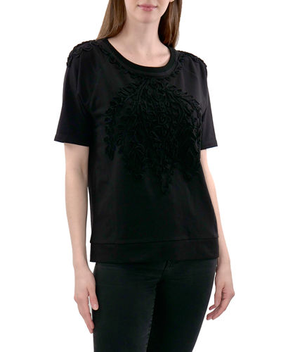 Elbow-Sleeve Knit Top With Soutache
