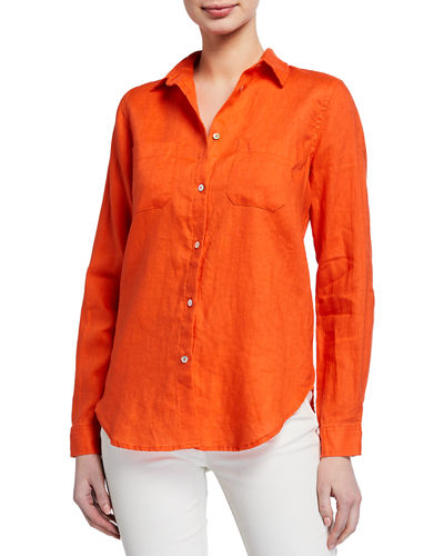 Button-Down Linen Top