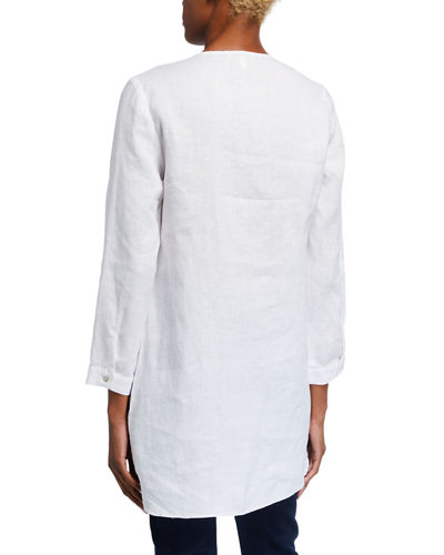 Long-Sleeve High-Low Linen Tunic