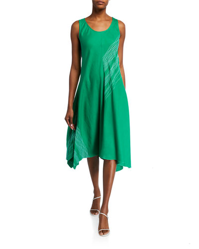 Embroidered Asymmetric Trapeze Dress