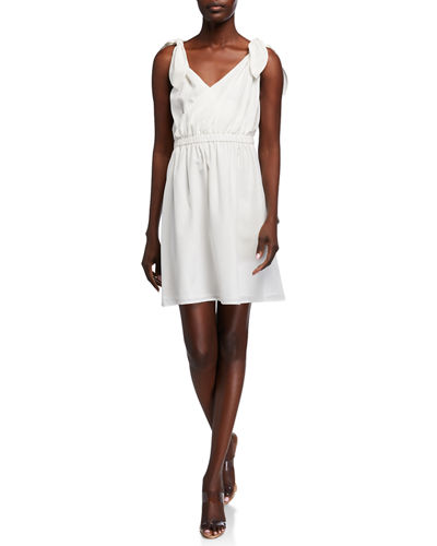 Faux-Wrap Tie-Shoulder Silk Dress