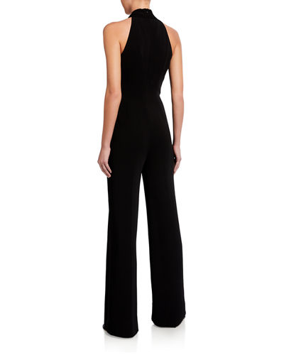 Chasidy Cross-Front Halter Jumpsuit