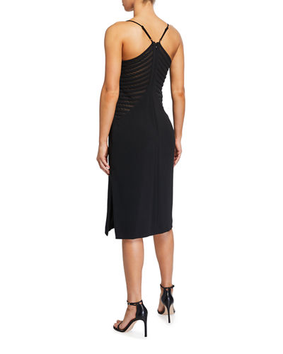 Crepe Side Applique Stripe Sheath Dress