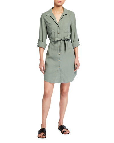 Anita Linen-Blend Waist Tie Shirtdress