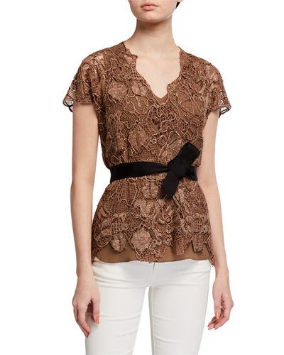 Floral Embroidered Belted Silk-Blend Top