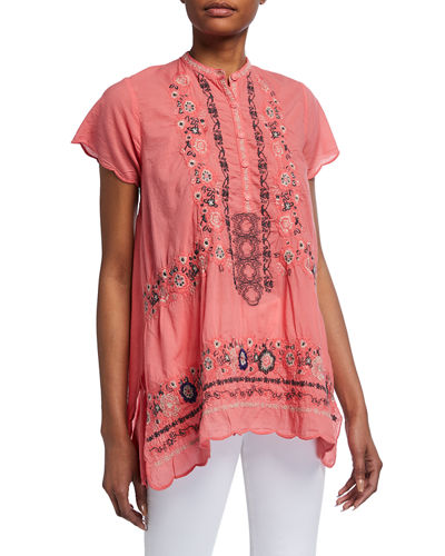 Kone Embroidered Scallop Tunic