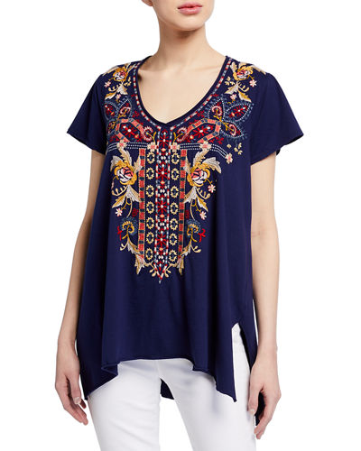 Salome Embroidered Drape Top