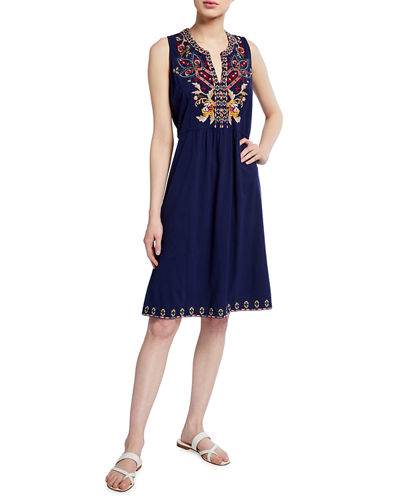Salome Embroidered Tank Dress
