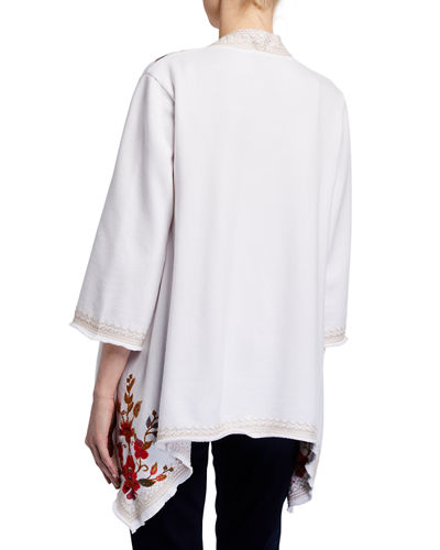Violette Drape Embroidered Cardigan