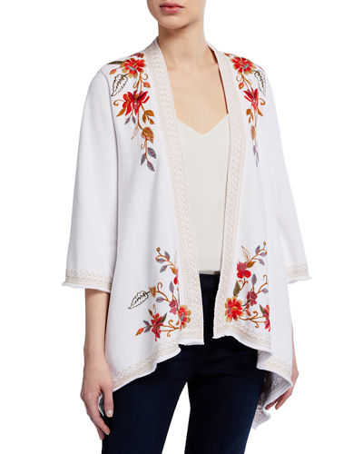 JWLA for Johnny Was Violette Drape Embroidered Cardigan