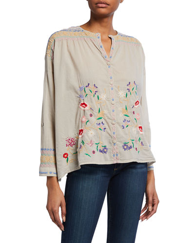 Gisella Floral Embroidered Voile Button-Down Blouse